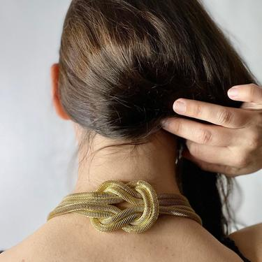 Vintage 80's Multistrand Gold Mesh Knot Chain Necklace by Northforkvintageshop