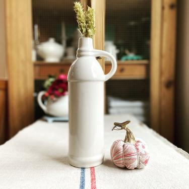Beautiful vintage French pure white ironstone bottle- WIB by Grainsacfrenchvintag