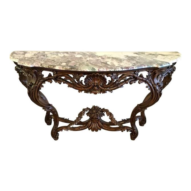 Traditional Carved Wood and Marble Console Table