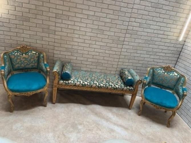 Antique Victorian Carved Chairs and Bench Newly Upholstered - 3 Piece Set