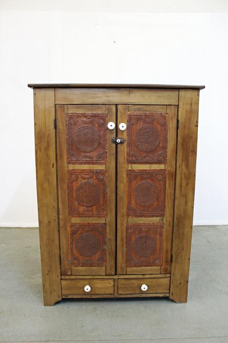 Pie Safe Antique Country Punch Tin Door Board Back Circa Late 1800's by AnnexMarketplace