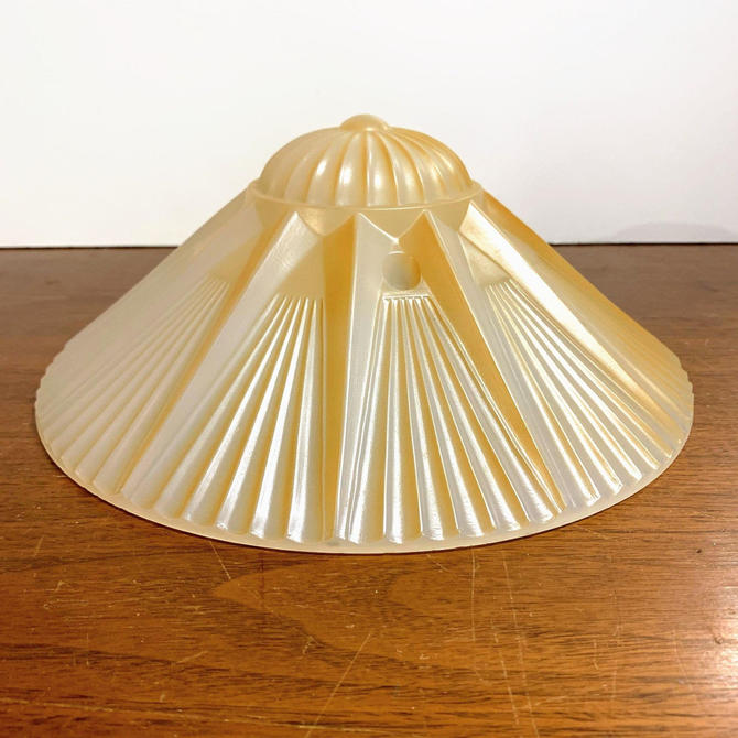 Vintage Art Deco Glass Three Hook Ceiling Light Lamp Shade Sun Rays by OverTheYearsFinds