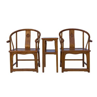 Chinese Handmade Light Brown Horseshoe Armchair Table 3 Pieces Set cs6179E by GoldenLotusAntiques