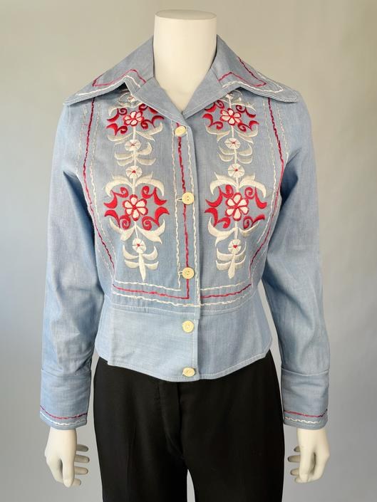 Chambray Embroidered Wide-Collar Jacket