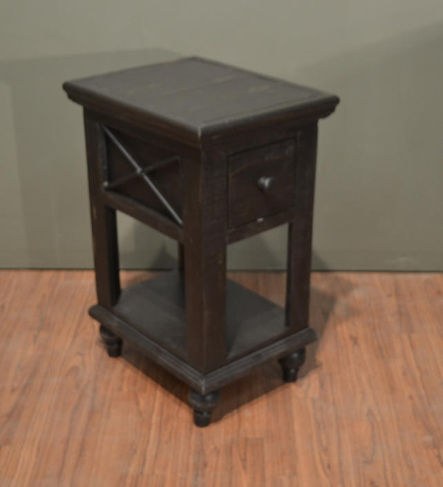 Rustic Style Solid Wood Charcoal Black Chair Side End Table with bottom shelf by RusticShop1