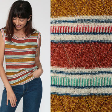 Knit Tank Top 80s Rust Striped Shirt Sleeveless Sweater Vest POINTELLE Cut Out Boho Vintage Bohemian Earth Tone Italian Knit Medium Large by ShopExile