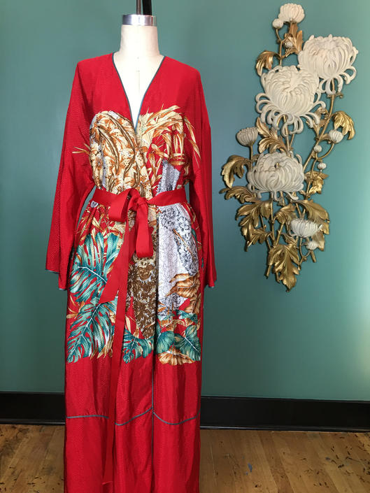 Mary McFadden robe, novelty print robe, red satin robe, 1980s robe, vintage loungewear, medium, animal print, designer robe, dressing gown by BlackLabelVintageWA