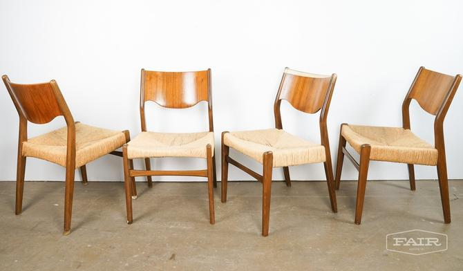Set of Teak Chairs with Woven Seats