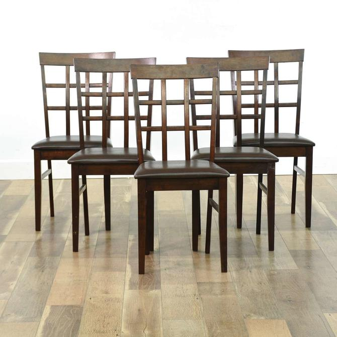 Set Of 5 Contemporary Grid Back Dining Chairs