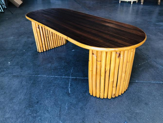 Restored Vertically Stacked Rattan Coffee Table w/ Mahogany Top by HarveysonBeverly