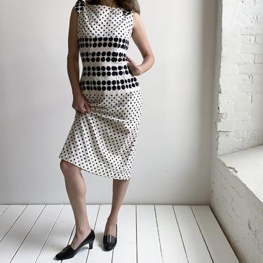 1960s Black & White Polka Dot Cocktail Dress by milkandice