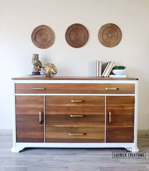 Art Deco Vintage sideboard, server or buffet, 1930s Waterfall Media Console by LuebeckCreations