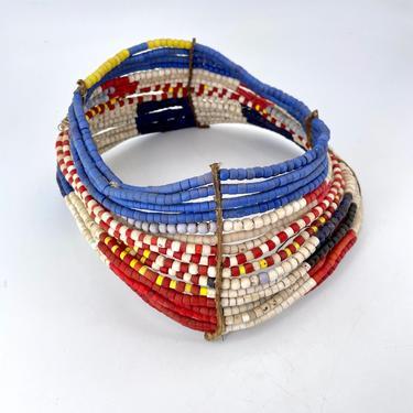 Antique West African Bead Jewelry Necklace Collar Vintage Colors Kenyan Regal by BrainWashington