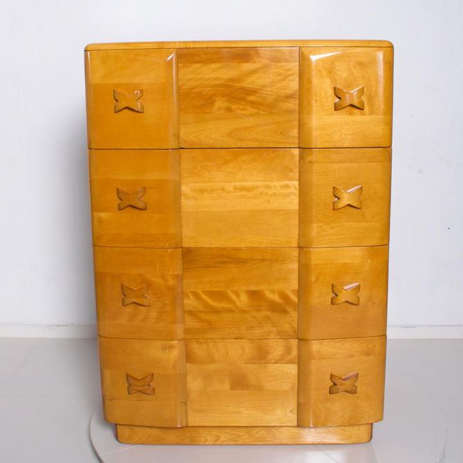 Mid Century Modern Pair Heywood Wakefield Highboy Rio Dressers, Chest Maple 1940's by AMBIANIC