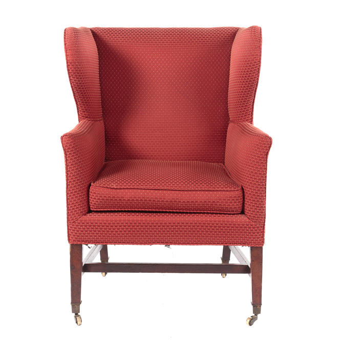 George III Mahogany Upholstered Wing Chair