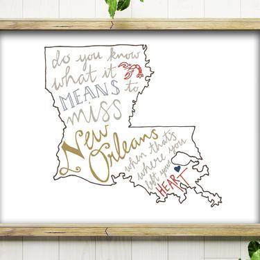 5x7 Art Print // New Orleans // Hand Drawn Louisiana State Map by BillieClaireHandmade