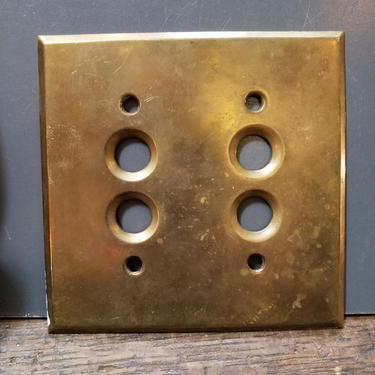Antique Cast Brass Double Push Button Switchplate