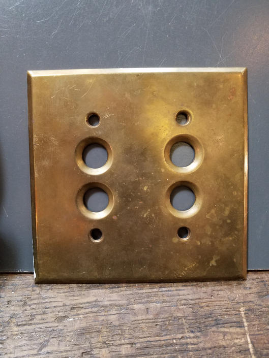 Antique Cast Brass Double Push Button Switchplate