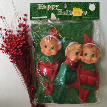 Vintage Knee Huggers In Package, Set Of 3 Christmas Elves, Vintage Xmas Decor, Christmas Tree Ornaments by luckduck