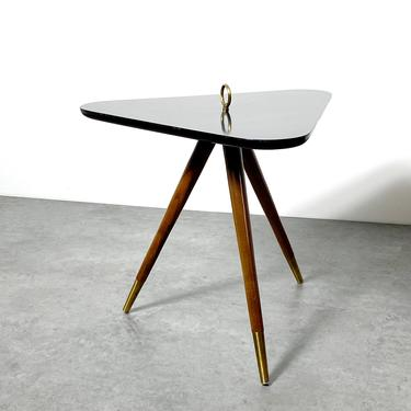 Rare Vintage Triangle Tripod Side Table Walnut and Brass 1950's by 20cModern