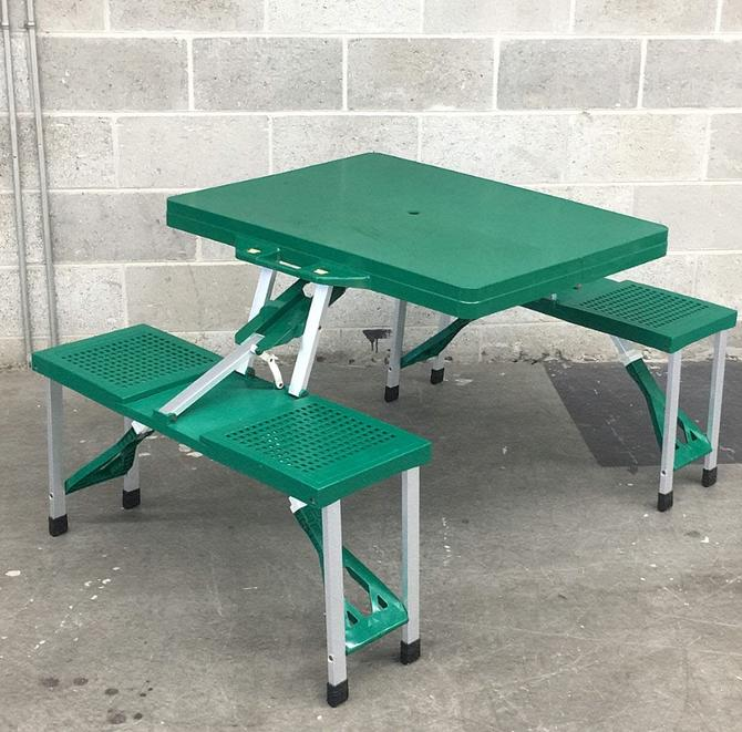 Vintage Folding Picnic Table Retro 1990s Camping Furniture + Green Plastic + Silver Metal + Folds Up + Table and 4 Chairs + Outdoor Dining by RetrospectVintage215