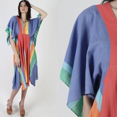 Vintage 70s Rainbow Striped Dress / Draped Colorful Angel Flutter Sleeves / Casual Summer Hanky Asymmetrical Hem Midi Mini Dress by americanarchive