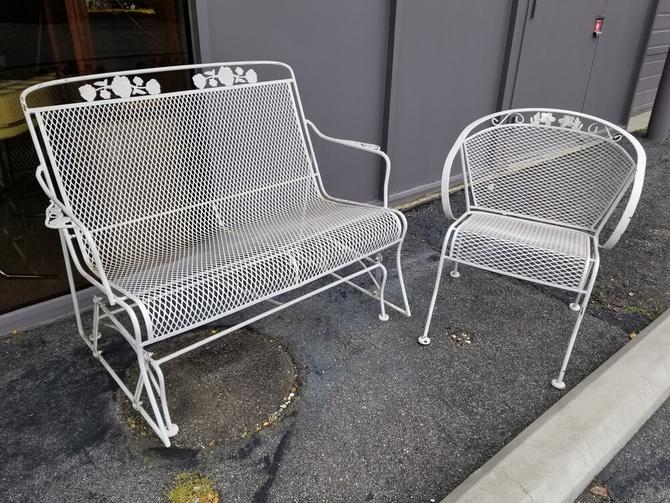 Vintage wrought iron patio rocking bench and matching chair