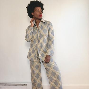 Vintage 1960s 1970s 70s Plaid Checked Pant Suit Leisure Set Collar Top Flare Wide Leg Bell Bottom Stretch Double Knit Medium by KeepersVintage