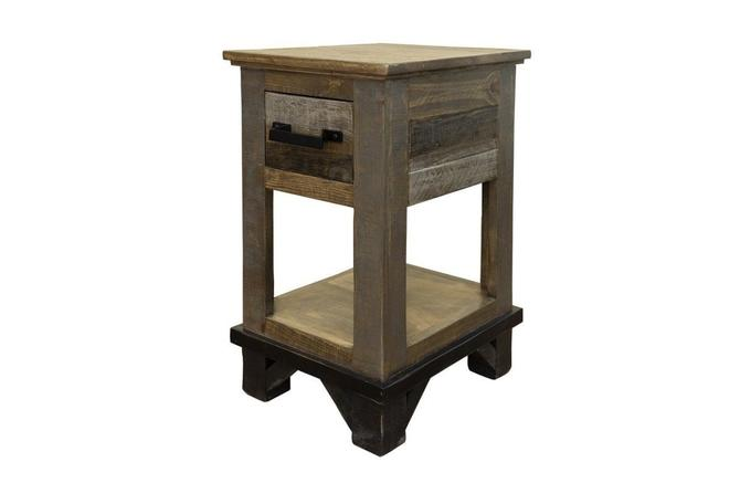 Farmhouse Rustic Solid wood 1-drawer Side Table by RusticShop1