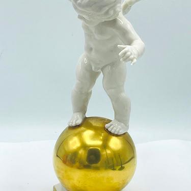 "Vintage Kunstabteilung Angel Cherub figurine Balancing on Gold Sphere   8"" by JoAnntiques"