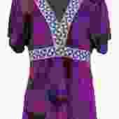 Emilio Pucci - Purple Printed V-Neck Short Sleeve Top Sz 10