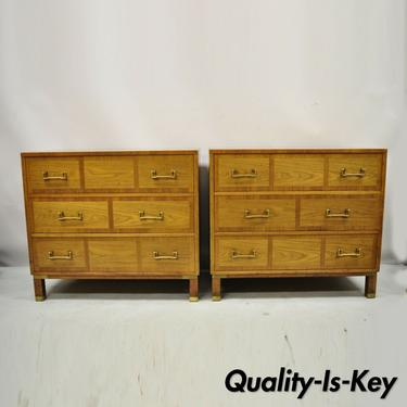 Baker Milling Road Banded Walnut Brass Campaign Bachelor Chest Dresser - a Pair