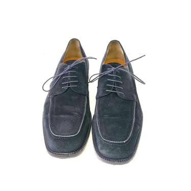 Johnston and Murphy Domani Men's 12 D Black Suede Leather Italian Shoes Lace Up by MakingMidCenturyMod