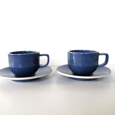Set of 2 Sasaki Colorstone Cup and Saucers In Sapphire Blue, Massimo Vignelli Post Modern Cup And Saucer, Minimalist Coffee Cups by HerVintageCrush