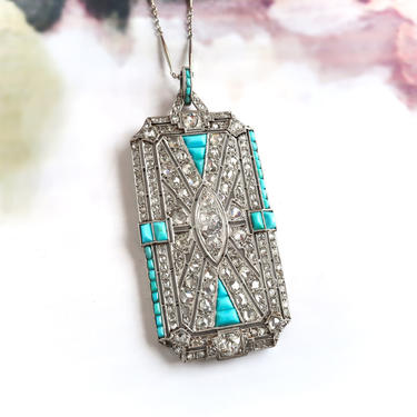 Art Deco Old European and Rose Cut Diamond Pendant with Turquoise Accents Platinum by YourJewelryFinder