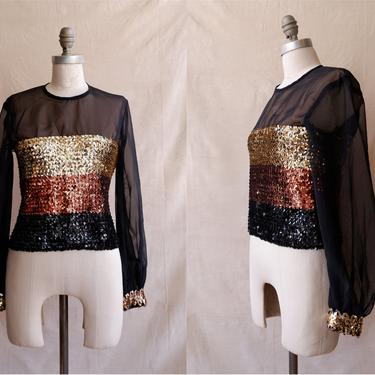 Vintage 70s Sequin Top With Sheer Balloon Sleeves/ 1970s Disco Party Blouse/ Puff Sleeves/ Size Medium Large by bottleofbread