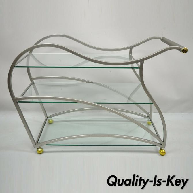 Design Institute of America Milo Baughman Brushed Metal Sculptural Bar Cart