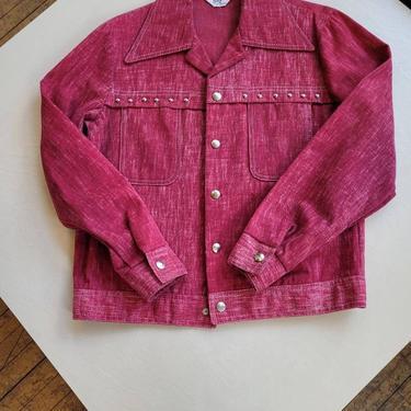 Vintage 1960s 70s Bogart Pink Studded soft denim Jean Jacket pointed collar snap closures by LazyDogAntiqueStore