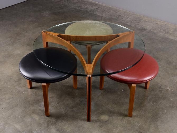 Sven Ellekaer Coffee Table and Stools Set Mid Century Danish Modern Teak by MadsenModern