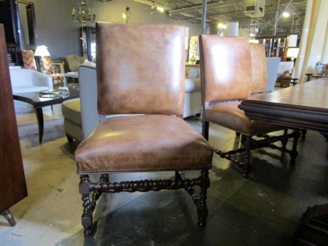SET OF EIGHT LARGE GENUINE LEATHER DINING CHAIRS TWO ARMS  AND SIX SIDES