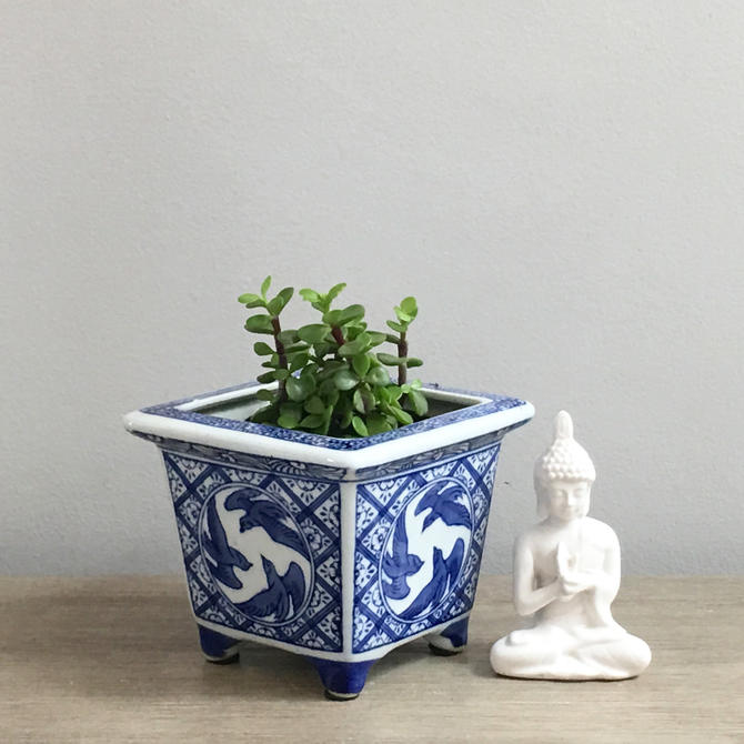 Small Blue White Chinese Planter Square Footed Ceramic Succulent Chinoiserie Indoor By Modrendition