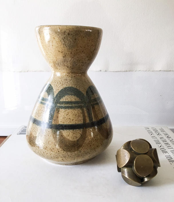 Hourglass Vase by Lapid Israel Tel Aviv Mid Century Abstract Art Pottery Signed Art Vintage Modern Voulkos by CaribeCasualShop