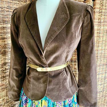 Mocha Velvet Blazer Jacket, Tapered Fit, Vintage 70s by GabAboutVintage