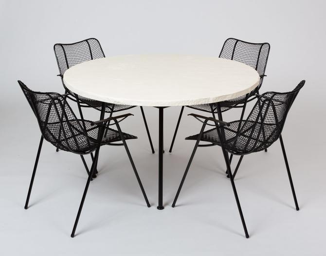 Woodard Patio Sculptura Set with Plaster Top Table