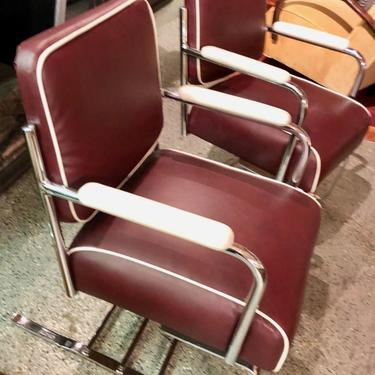 Restored Flexible Metal Two-tone Art Deco Club Chairs
