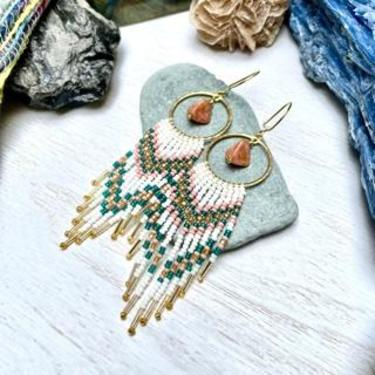 Beaded Fringe Earrings with Drop stone