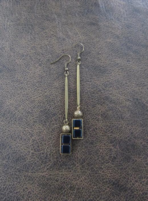 Long brass geometric earrings, brutalist earrings, mid century modern earrings bold statement, blue hematite, unique chic earrings by Afrocasian