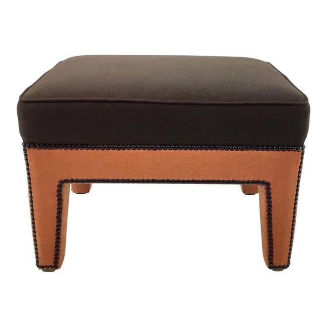 Duralee Co. Chocolate and Orange Wool Modern Nico Ottoman