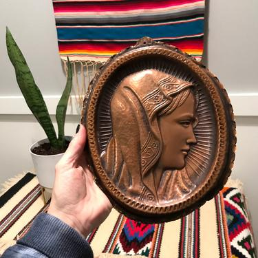 Vintage Copper Virgin Mary Wall Relief Plaque; Religious Cooper Wall Art Unique Rustic Relgious Relics by VintageCoreReStore