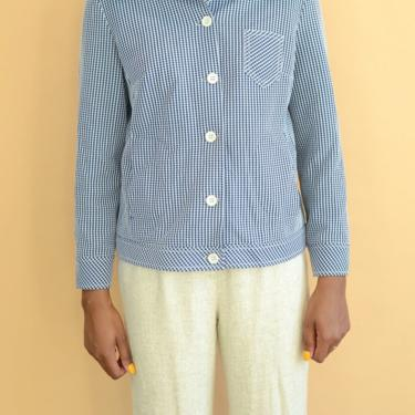 Vintage Seersucker Checkered Button Down Long Sleeve Collar Shirt by MAWSUPPLY